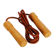 Valor Fitness EF-14 Pro Leather Wood/Bearing Handle Jump Rope